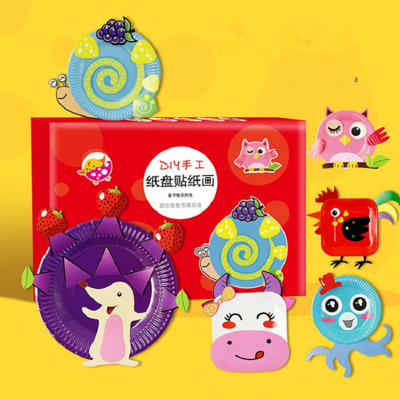 10pcs/set Children 3D DIY Handmade Paper Plate Sticker Material Kit Kids Art Craft Toys Early Educational Toys