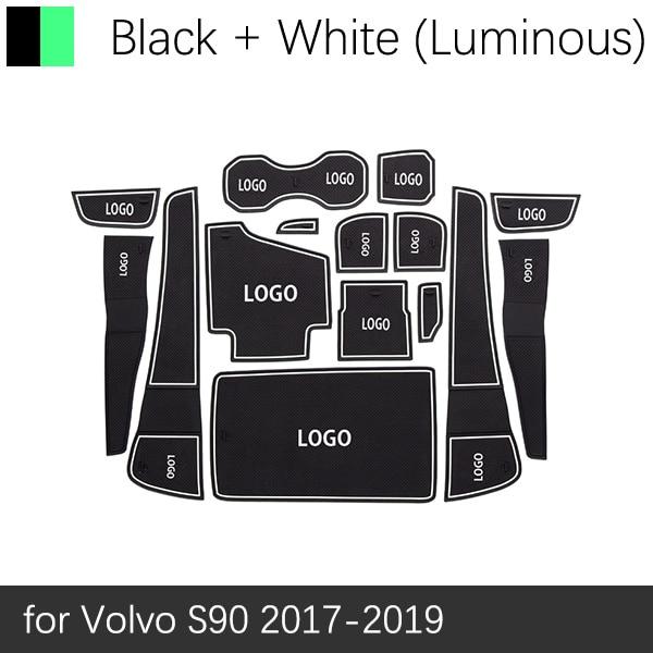 Противоскользящими резиновыми затворный слот, циновка чашки для VOLVO V40 V60 S60 S90 XC60 XC90 2013 автомобильные аксессуары наклейки - Название цвета: White S90