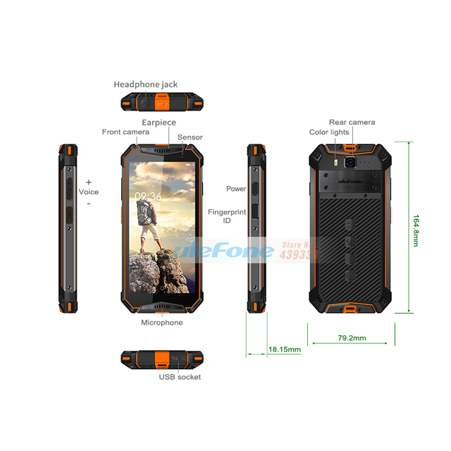 Ulefone Armor 3 4GB+64GB IP68 Waterproof Mobile Phone Android 8.1 5.7inch FHD+ Octa Core 21MP Dual SIM Global Version Smartphone