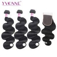 Yvonne бразильские волны волос на теле Связки с закрытием естественный Цвет 3 шт. человеческих волос пучки с закрытием 4x4