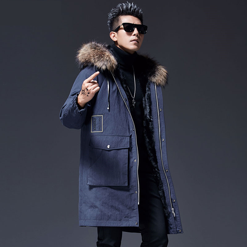 Jacket Raccoon-Fur-Collar Long-Coat Winter Warm Lining Snow Mountain-Wool Men's