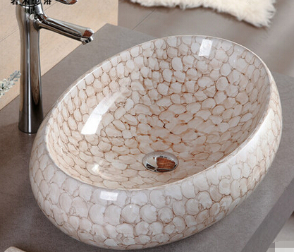 Ceramic art basin to the stage of the basin that wash a face Coloured drawing or pattern sink basin of 5038 f
