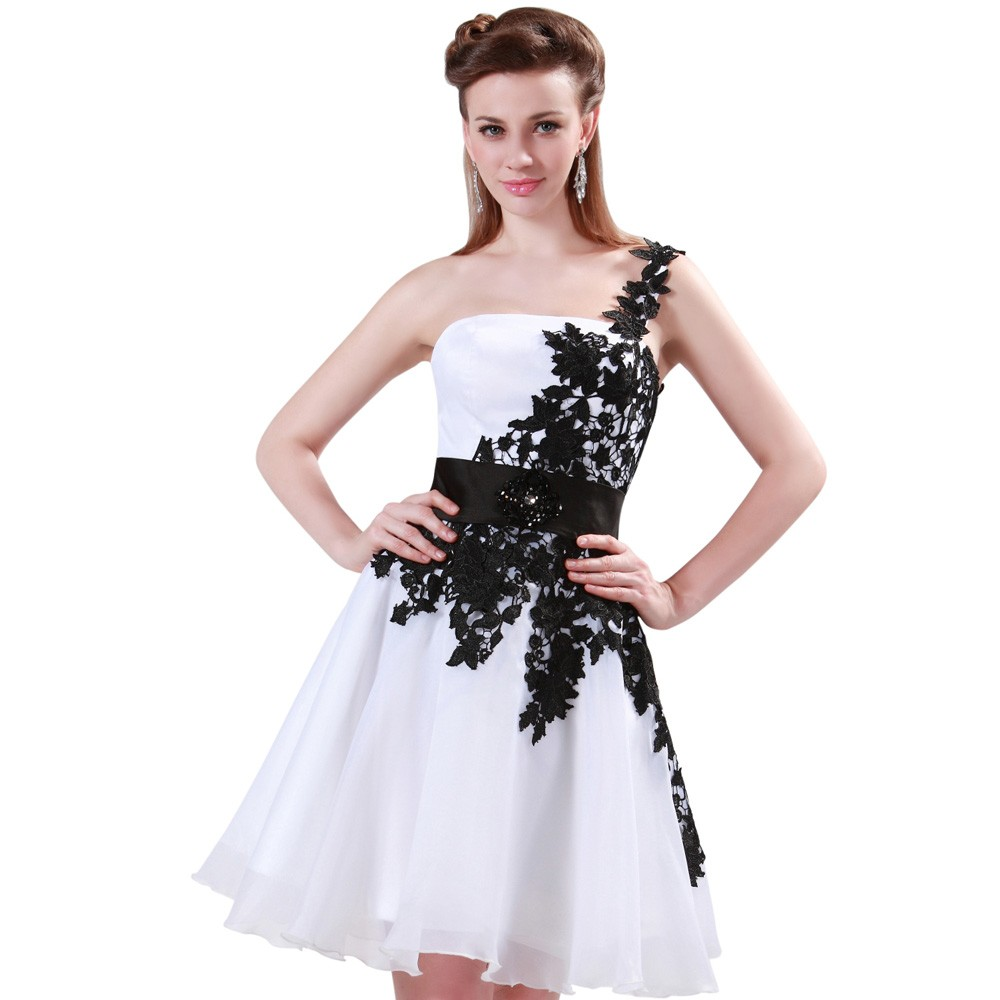 Grace Karin White and Black One Shoulder Lace Short Prom Dresses Ball Gown Knee Length School Party Dress Cute GK4288 6