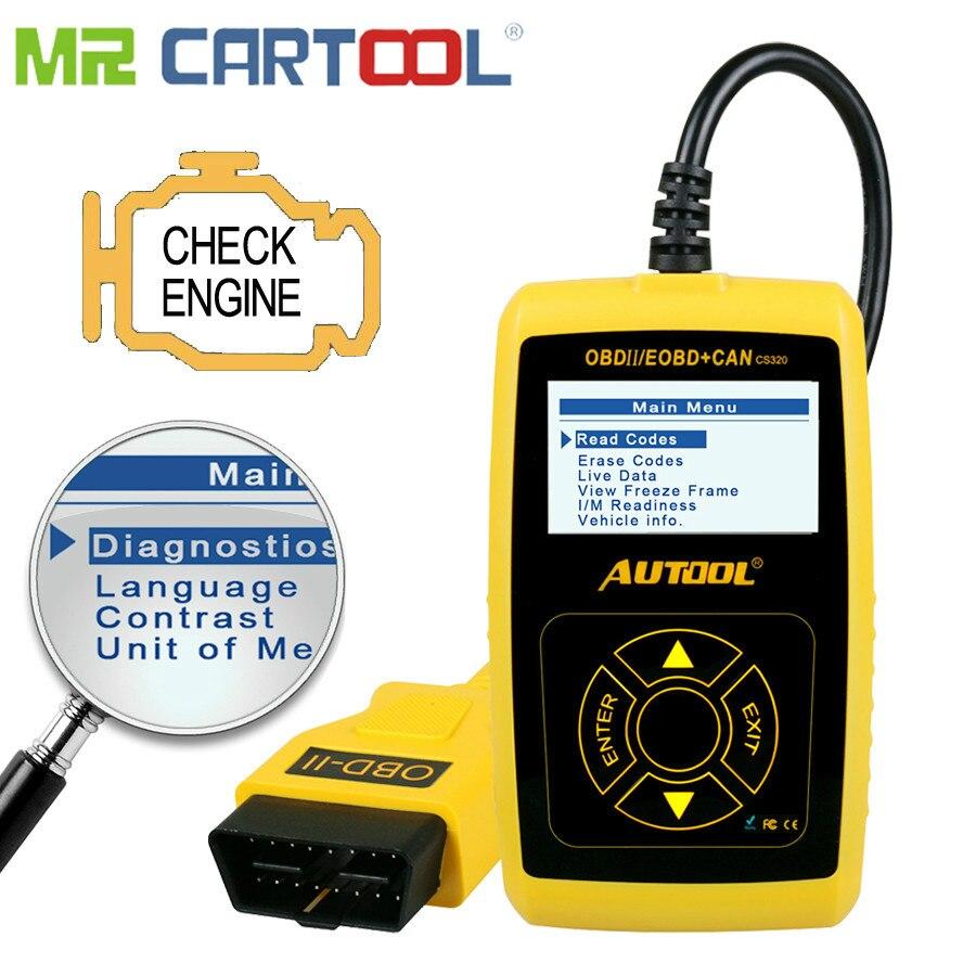 CARTOOL CS320 OBD2 Automotive Scanner OBD 2 II Car Code Reader Auto Vehicle Scan Diagnostic Tool PK AD310 Launch X431 OM123 Scan