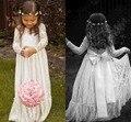 Bohemia de manga larga de encaje vestidos para el partido y de la boda longitud del piso del bebé niños vestido de fiesta vestido de primera comunión