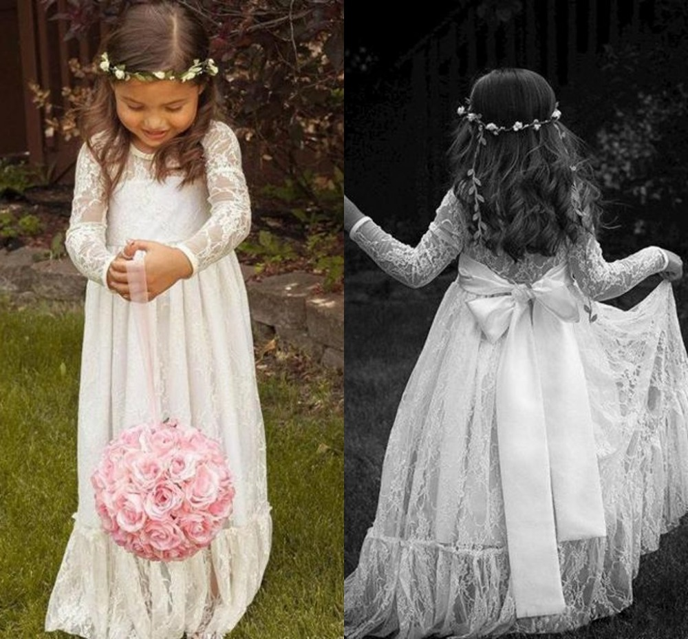 long lace flower girl dresses