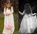 De manga comprida vestidos menina para festa de casamento e chão vestido de primeira comunhão vestido