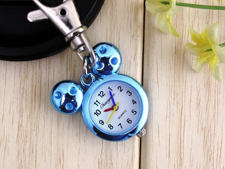 New Fashion Simple Casual Jewelry Stainless Steel Quartz mickey minnie Pocket Watch kids boys girls gift with Keychain clock