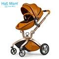 Hotmom carrinho de bebê 3 em 1 2 em 1 carrinho de bebê couro do plutônio pode se sentar e deitar quatro temporadas de inverno Rússia livre grátis