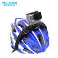 Telesin gopro vented helmet strap mount capacete cinto cinta + quadro adaptador de montagem para gopro hero 4/3/3 + gopro hero 5 acessórios