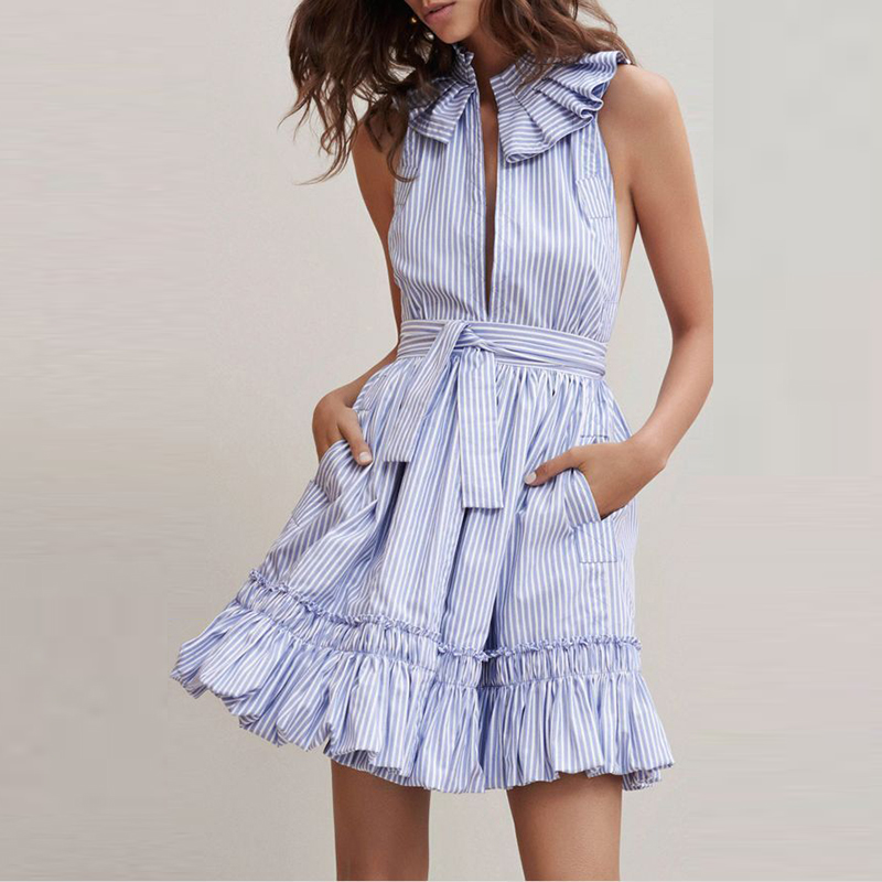 Vintage blue white Striped Ruffled Dress women sexy deep V Neck off shoulder Dresses summer Backless Tie waist party Vestidos