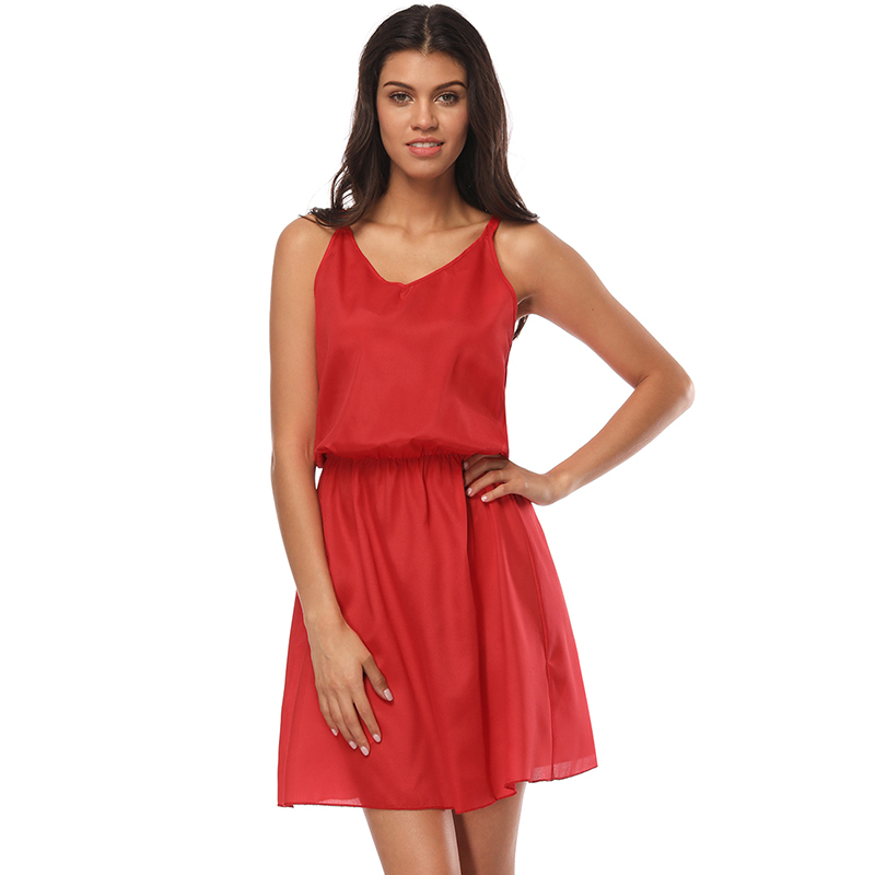 2018 Summer Style O Neck Party Dress Women Casual Solid Beach Dress Sleeveless Red Sweet Mini Dresses Plus Size