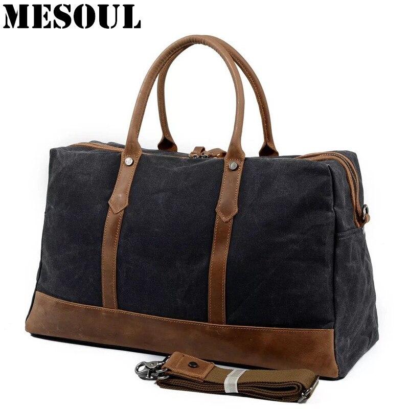 MESOUL Big Travel Duffle Väskor Mäns Stor Kapacitet Läder - Väskor för bagage och resor - Foto 2