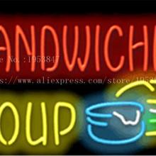 """Бутерброды суп неоновая вывеска настоящие стеклянные трубчатые лампочки светлая пивная Клубное оформление пользовательские знаки вывеска магазин хлеба 1"""" x 14"""""""