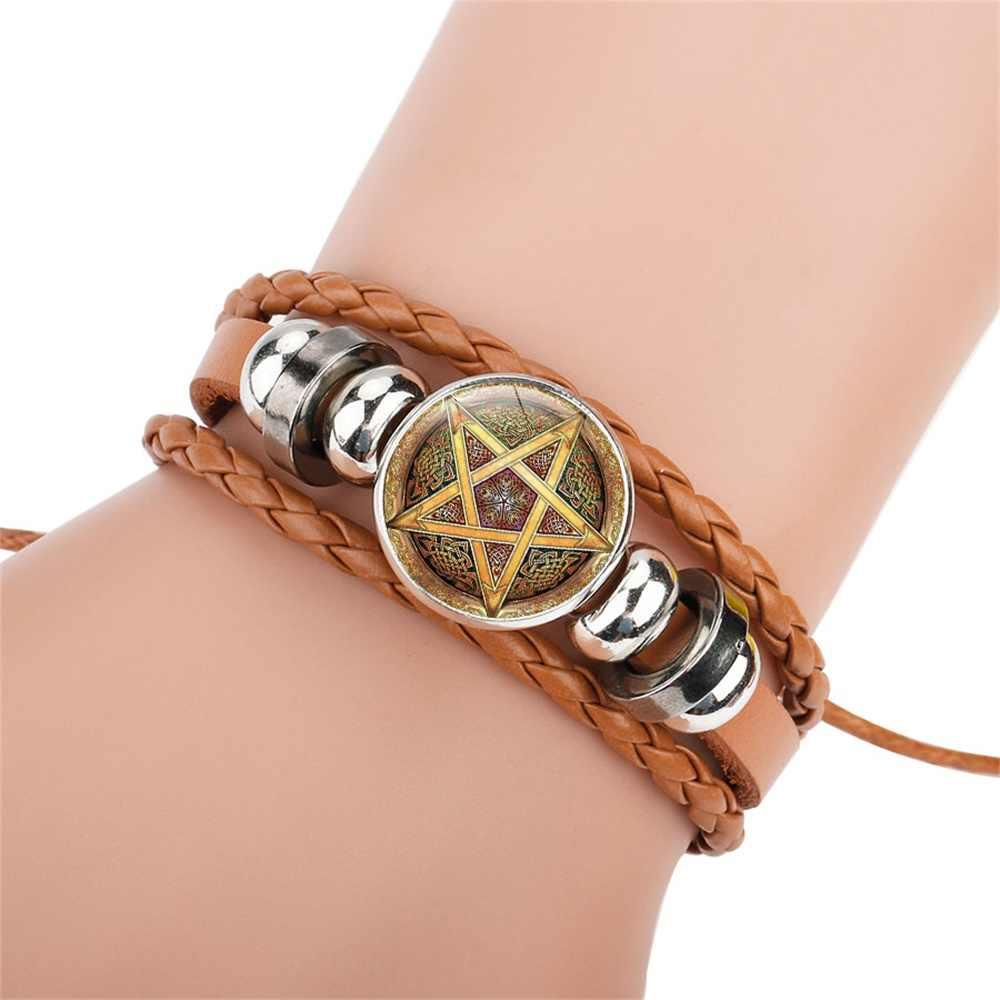 c6801d566ae ... NingXiang Purple Color Occult The Inverted Star Sign Pentagram Satanic  Pentagram Star Symbols Leather Bracelets Girls ...