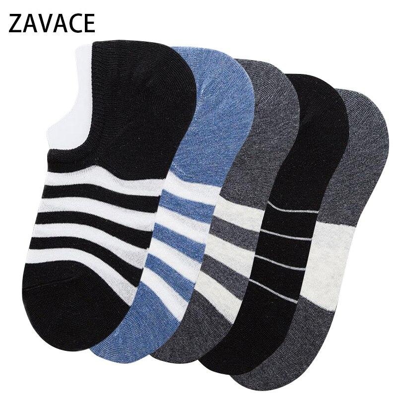ZAVACE New Autumn cotton socks Stripe invisible socks black and white casual mens socks 1pair=2 piece
