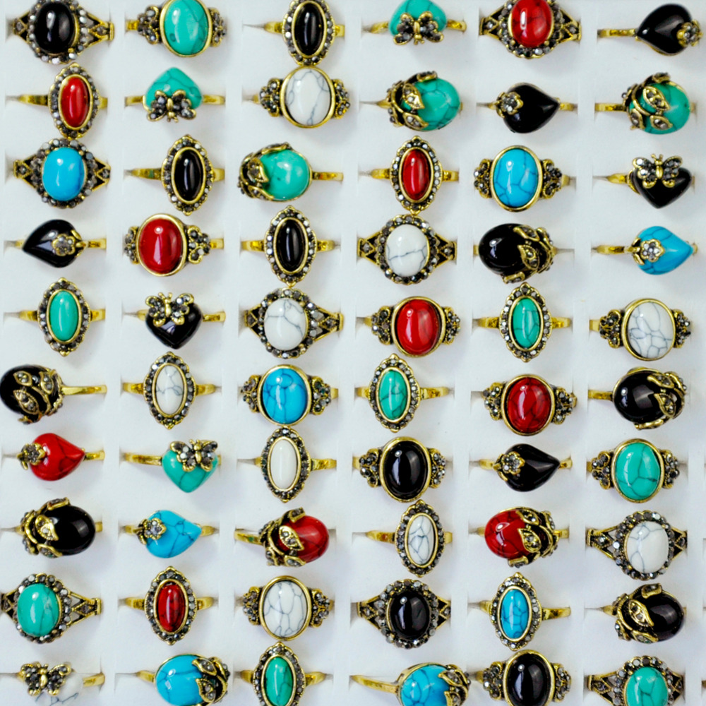 100Pcs Vintage Turquoises Rhinestone Ancient Gold Women Ring lot female anel Jewelry Lots Top quality LR4054
