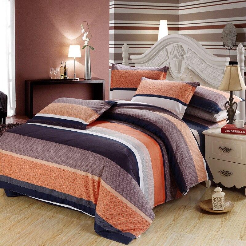 Orange gray black stripes beddding set Twin Full Queen King Size Bedding Linen Quilt cover Duvet