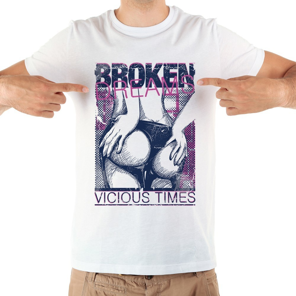 broken dreams vicious time cool <font><b>tshirt</b></font> men 2018 summer new white short sleeve casual homme sexy <font><b>ass</b></font> funny t shirt image