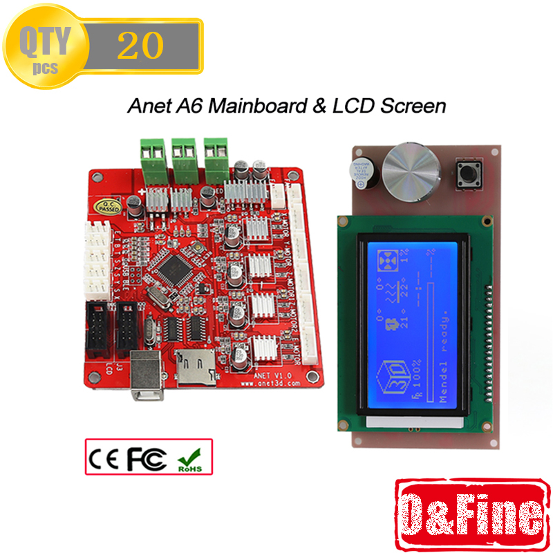 20 Piece Mainboard V1.0 with V2.0 Firmwear and 20 PCS LCD Screen 12864 for Anet A6 3D Printer