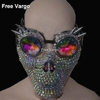 Голографическая горный хрусталь Rave Хэллоуин Streampunk горящий человек Костюмы череп маска очки косплэй Фестивальная одежда наряд