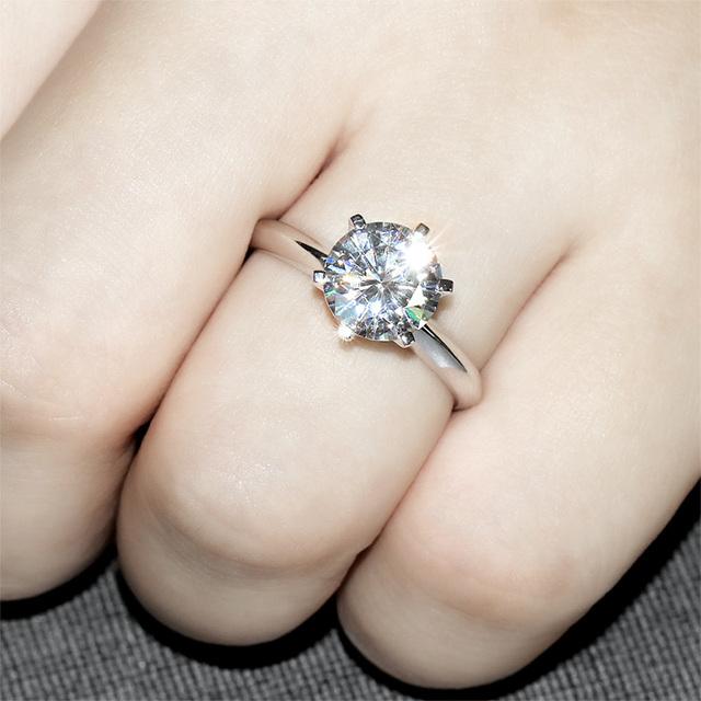 14K 585 White Gold 3CT Lab Grown Diamond Ring