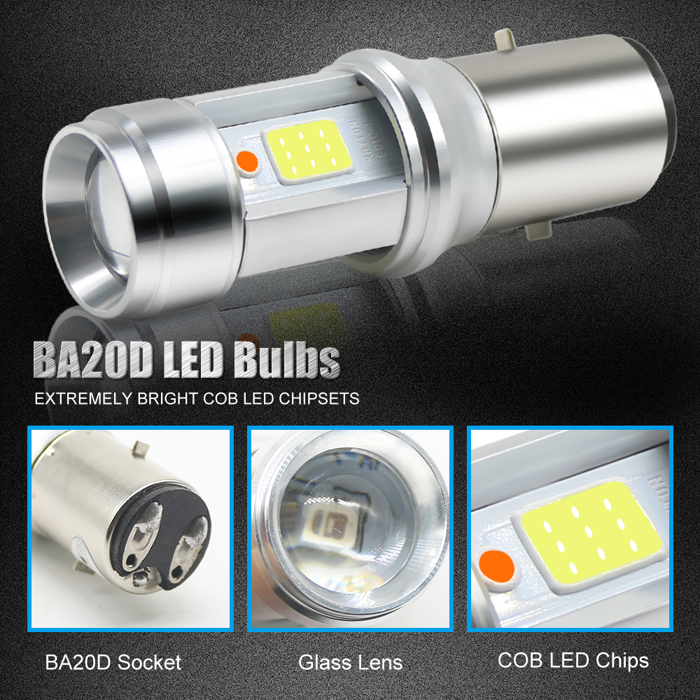1pc BA20D LED Motorcycle Headlight Bulb 18W COB Chip Glass Lens White Blue Hi Lo Motorbike Scooter Headlamp Fog light DC 9 18V in Car Headlight Bulbs LED from Automobiles Motorcycles
