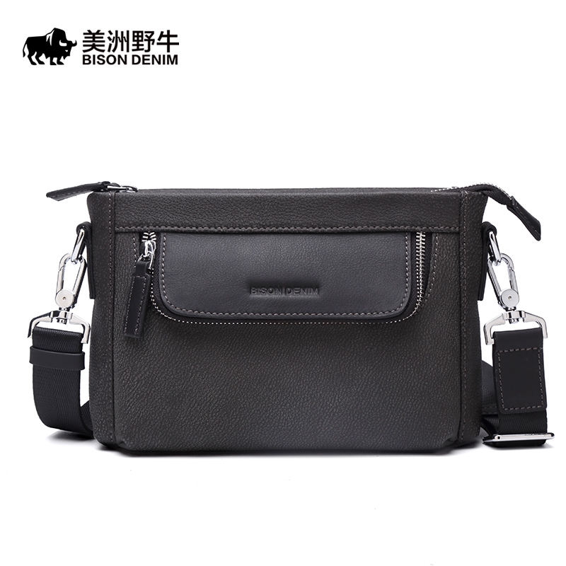Brand BISON DENIM Genuine Leather Handbag Men Bag Casual Satchel Messenger Bag Business Travel Crossbody Bag Men's Shoulder Bags casual canvas satchel men sling bag