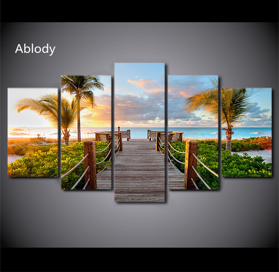5Plane Wall Painting Coast Board Walk Palms Pictures Hd Posters And Prints Island Beach Home Decor Picture For Living Room
