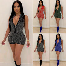 Hot New Women Sexy Bodycon Playsuit Beading Solid Fashion V-Neck Sequin Bodysuit Jumpsuit Slim Sleeveless Romper Clubwear