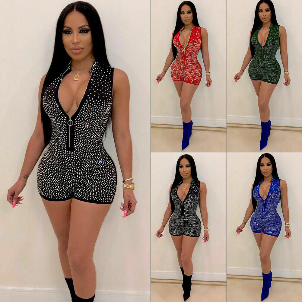 Hot New Women Sexy Bodycon Playsuit Beading Solid Sexy Fashion V-Neck Sequin Bodysuit   Jumpsuit   Slim Sleeveless Romper Clubwear