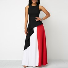 Color Block Split Dress Streetwear Women Casual Clothes O-Neck 2019 Casual Maxi Dresses цена