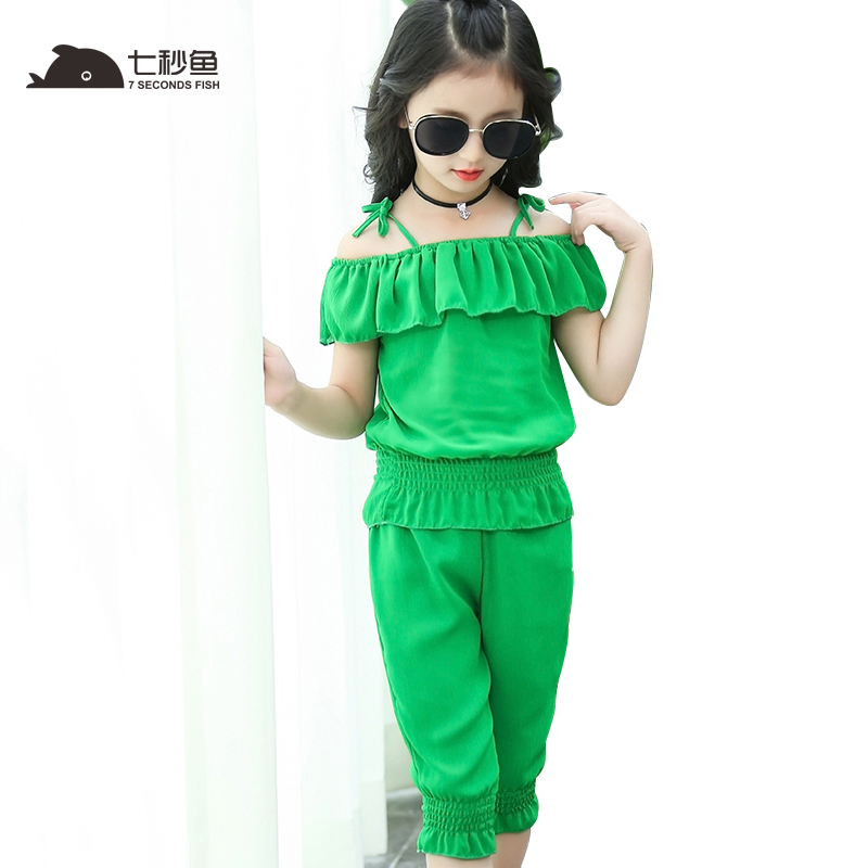 цена на kids clothes 2018 toddler girls summer clothing girl clothes set yellow green girls outfits 5 6 7 8 9 10 11 12 13 year