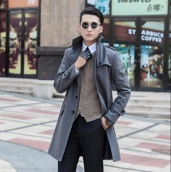 Blue medium-long wool coat men jackets and coats mens slim wool winter single breasted trench coats teenager outerwear S – 9XL
