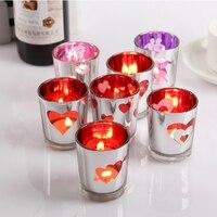 Romantic Glass Candle Holder LOVE Heart Tealight Candlestick Wedding Decoration Party Favors 4pcs Lot SH273