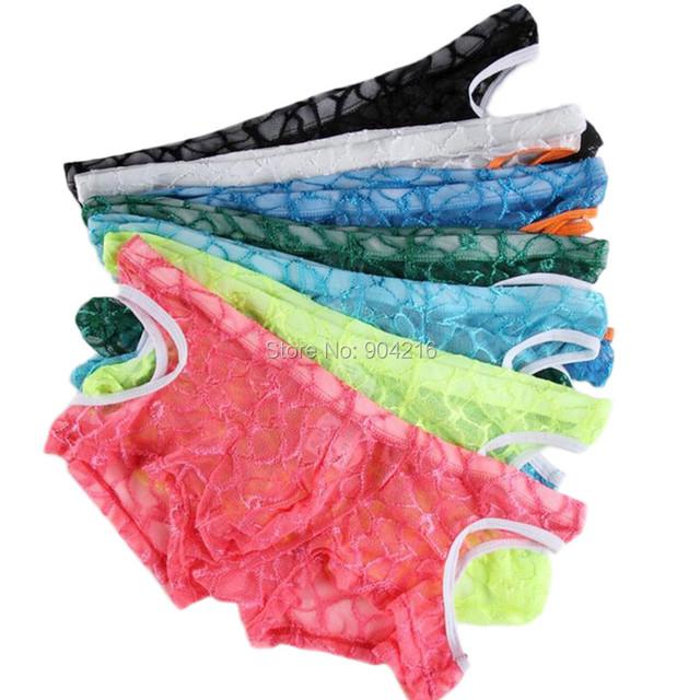 7 UNIDS Men Underwear Boxer Transpirable Calzoncillos de Encaje Sexy Translúcido Erotic Homens Único Lado Ahuecado Pantalones Envío Gratis