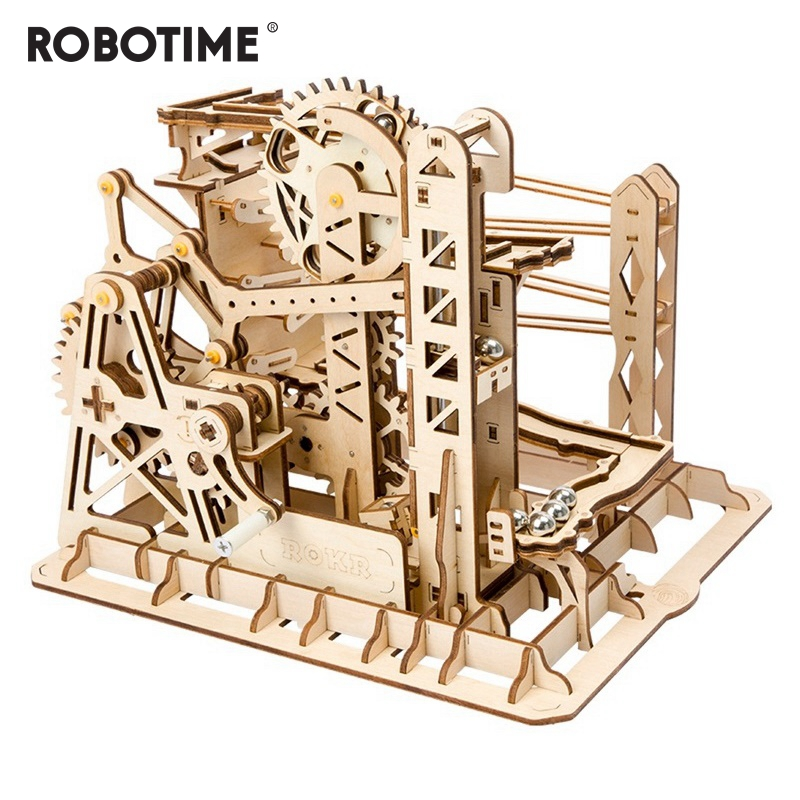 Robotime DIY Lift Coaster Magic Creative Marble Run Game Wooden Model Building Kits Assembly Toy Gift