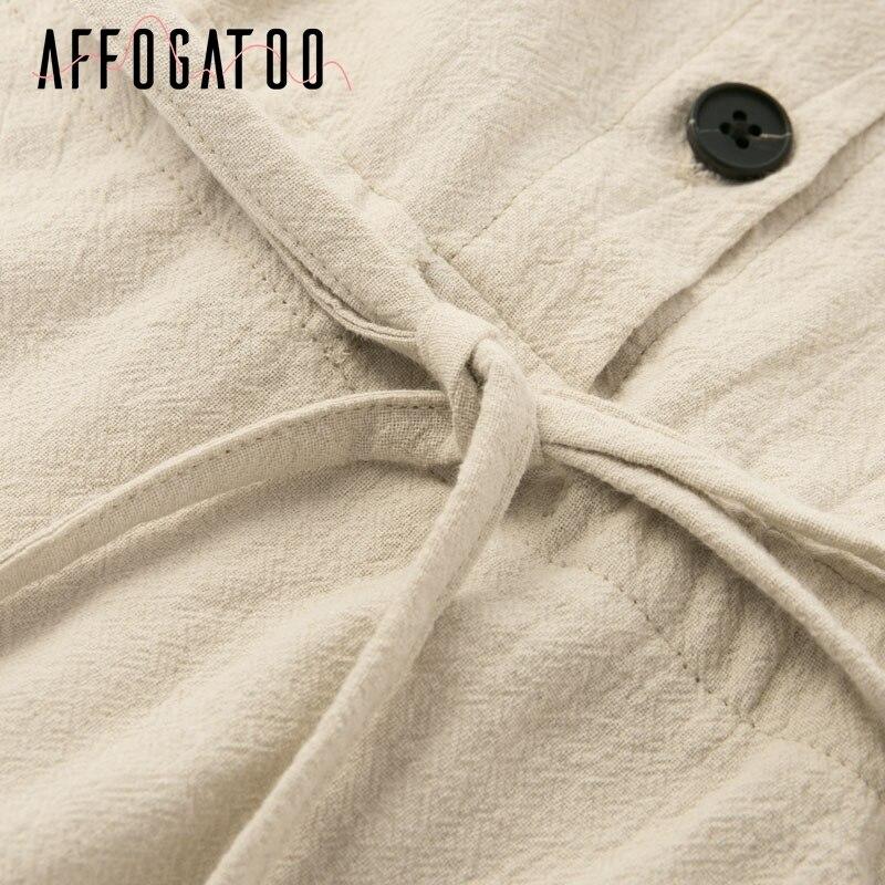 Affogatoo Vintage elagant women mini shirt dress Casual lantern sleeve short dress Turndown collar lace up linen female dresses 13