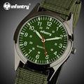 Infantry relógios de quartzo dos homens relógios de pulso luminoso verde nylon tecido strap militar aviator sports relógios relogio masculino