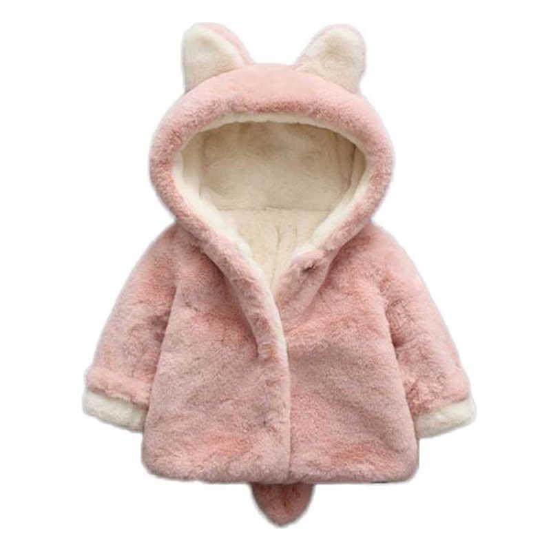 1f5d1b91bf3f7 Baby Girls Winter Jackets Warm Faux Fur Fleece Coat Children Jacket Rabbit  Ear Hooded Outerwear Kids