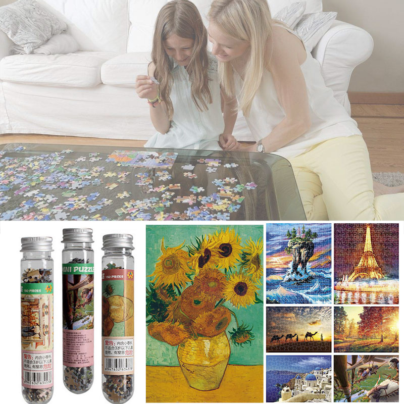 150Pcs/Set Jigsaw Puzzle Toys Mini World Masterpiece Scenery Educational