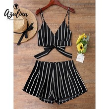 5110ae806a AZULINA Women Set Cami Wrap Top Striped Shorts 2018 Summer Beach Two Piece  Sets Casual Girls