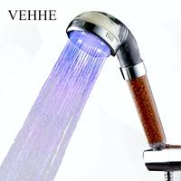 VEHHE Led thermostaat controle 3 kleur spa douchekoppen led douche licht hoofd badkamer water temperatuur led douchekop VE016