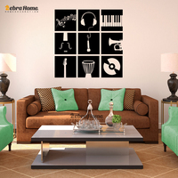 Music Instruments Stencil Wall Stickers For Living Rooms DIY Art Murals Wallpaper Baby Kids Bedroom Home Decor