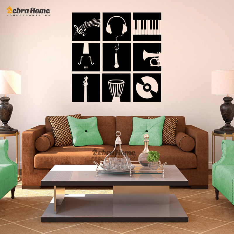Music Instruments Stencil Wall Stickers For Living Rooms DIY Art Murals Wallpaper Baby Kids Bedroom Home
