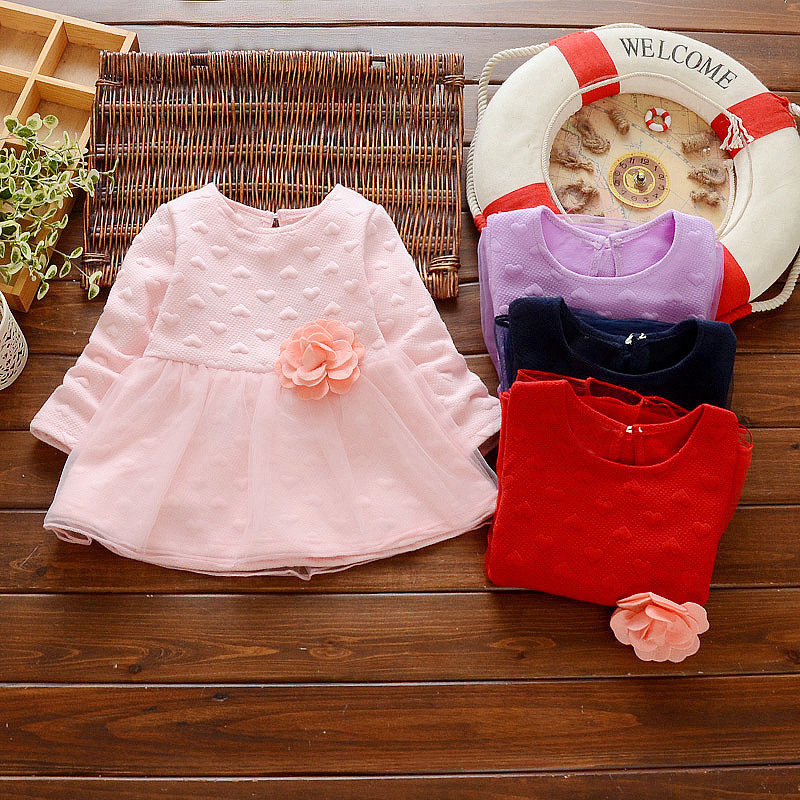 1-4 Years Spring Summer Baby Girls Clothing Children Princess Dress Fashion Kids Long Sleeve Dresses Brooch A Flower Clothes summer 2017 new girl dress baby princess dresses flower girls dresses for party and wedding kids children clothing 4 6 8 10 year