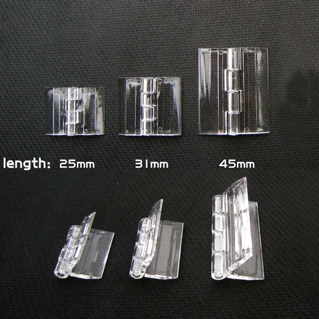 Small Light Mini Clear Transparent Acrylic Plastic Display Furniture Cabinet  Door Window Music Box Case Hinge
