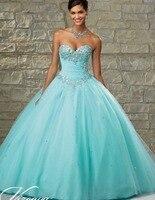 2018 זול Quinceanera שמלות נשף מתוק 16 אור נסיכת תינוק ורוד כחול אקווה לבן מקוונת כדור שמלת 15 שנים
