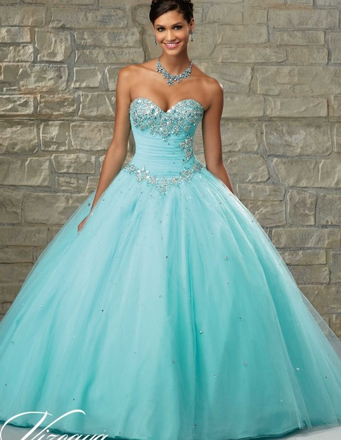5b22976ddd3a 2018 Cheap Quinceanera Gowns Debutante Sweet 16 Princess Light Baby Blue  Pink Aqua White Online Ball Gown 15 Years