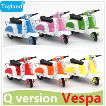6-Colores versión Q Ladys Vespa modelo de aleación Pull Back, el mejor regalo para juguetes educativos para niños, Mini motocicleta modelo coches de juguete